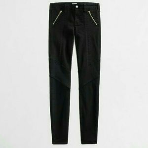 JCrew Factory black Zip utility Moto jeans